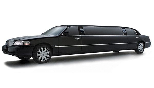 Schwarze Stretchlimousine als Hochzeitsfahrzeug